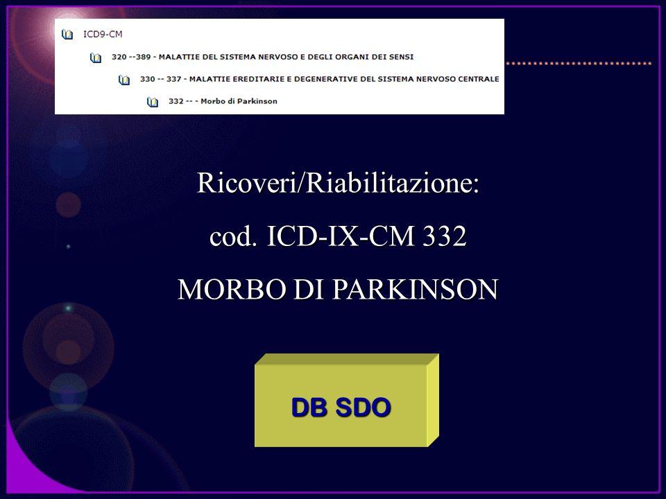 DB SDO Ricoveri/Riabilitazione: cod. ICD-IX-CM 332 MORBO DI PARKINSON