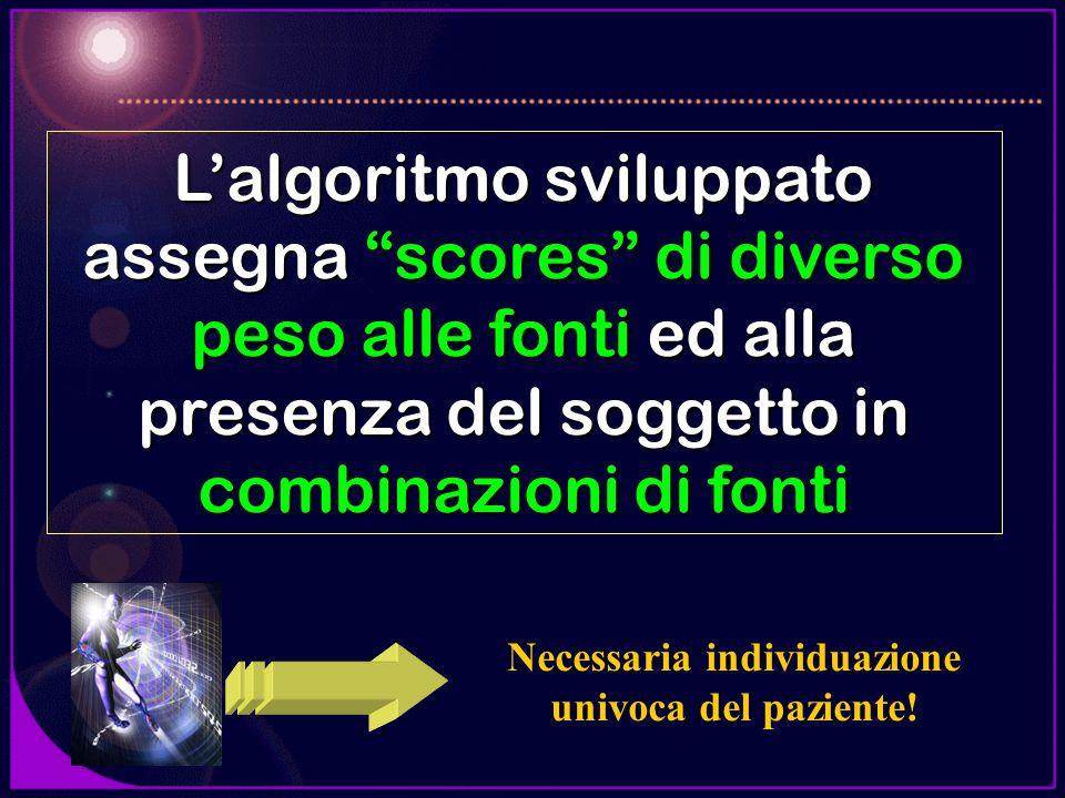 Lalgoritmo sviluppato assegna scores di diverso peso alle fonti ed alla presenza del soggetto in combinazioni di fonti Necessaria individuazione univo