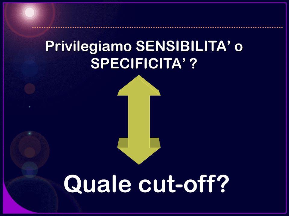 Quale cut-off? Privilegiamo SENSIBILITA o SPECIFICITA ?