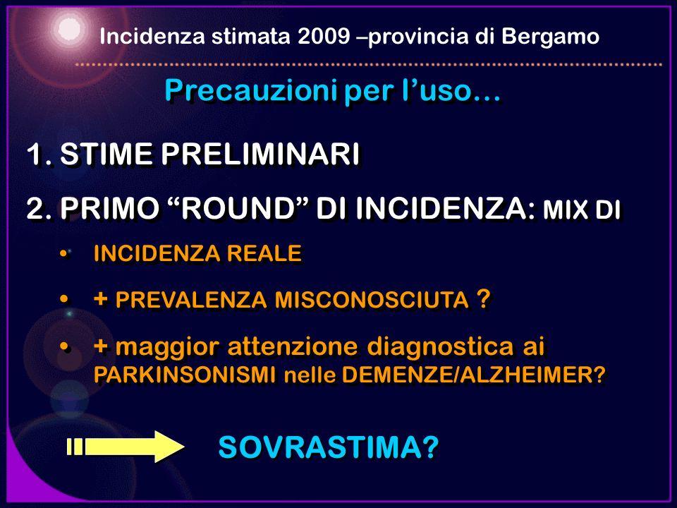 Precauzioni per luso… 1.STIME PRELIMINARI 2.PRIMO ROUND DI INCIDENZA: MIX DI INCIDENZA REALE + PREVALENZA MISCONOSCIUTA ? + maggior attenzione diagnos