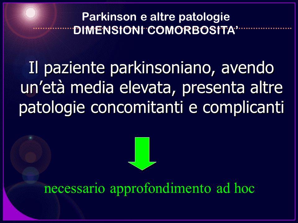 Il paziente parkinsoniano, avendo unetà media elevata, presenta altre patologie concomitanti e complicanti Parkinson e altre patologie DIMENSIONI COMO