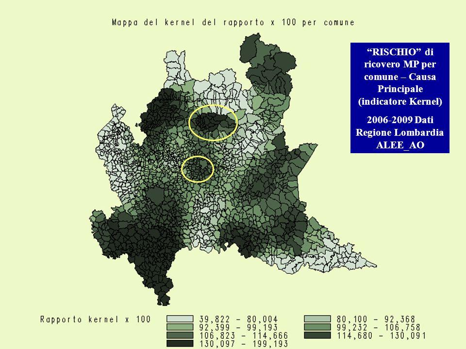 RISCHIO di ricovero MP per comune – Causa Principale (indicatore Kernel) 2006-2009 Dati Regione Lombardia ALEE_AO