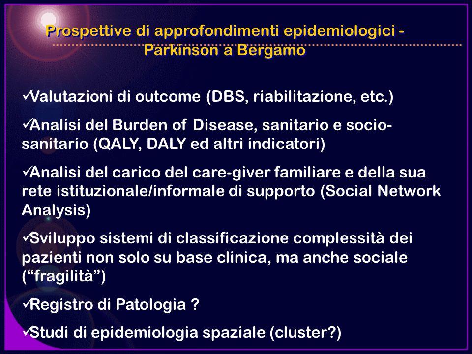 Prospettive di approfondimenti epidemiologici - Parkinson a Bergamo Valutazioni di outcome (DBS, riabilitazione, etc.) Analisi del Burden of Disease,