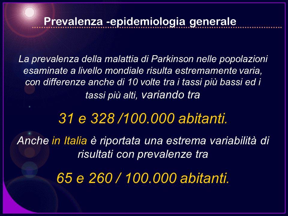 La prevalenza della malattia di Parkinson nelle popolazioni esaminate a livello mondiale risulta estremamente varia, con differenze anche di 10 volte