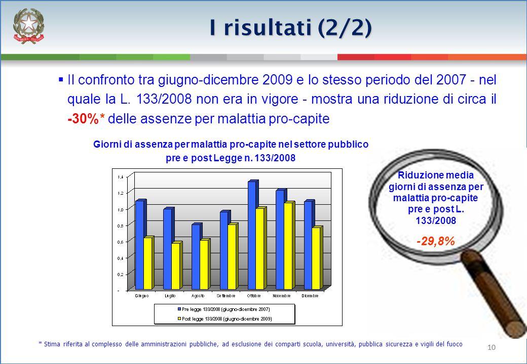 10 Il confronto tra giugno-dicembre 2009 e lo stesso periodo del 2007 - nel quale la L.