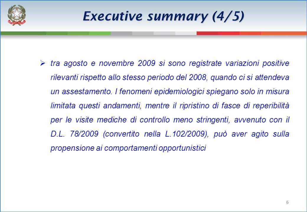 66 Executive summary (4/5) tra agosto e novembre 2009 si sono registrate variazioni positive rilevanti rispetto allo stesso periodo del 2008, quando ci si attendeva un assestamento.
