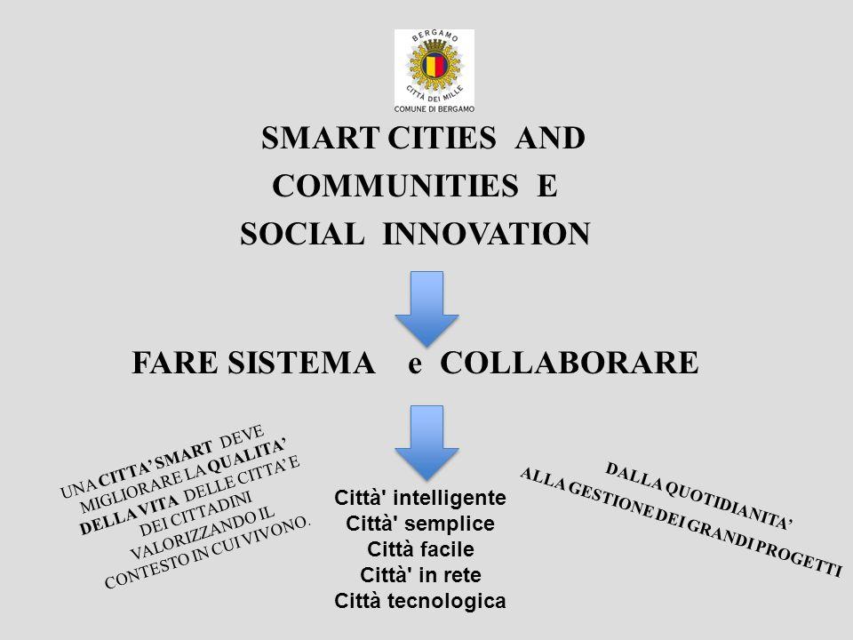 SMART CITIES AND COMMUNITIES E SOCIAL INNOVATION FARE SISTEMA e COLLABORARE Città' intelligente Città' semplice Città facile Città' in rete Città tecn