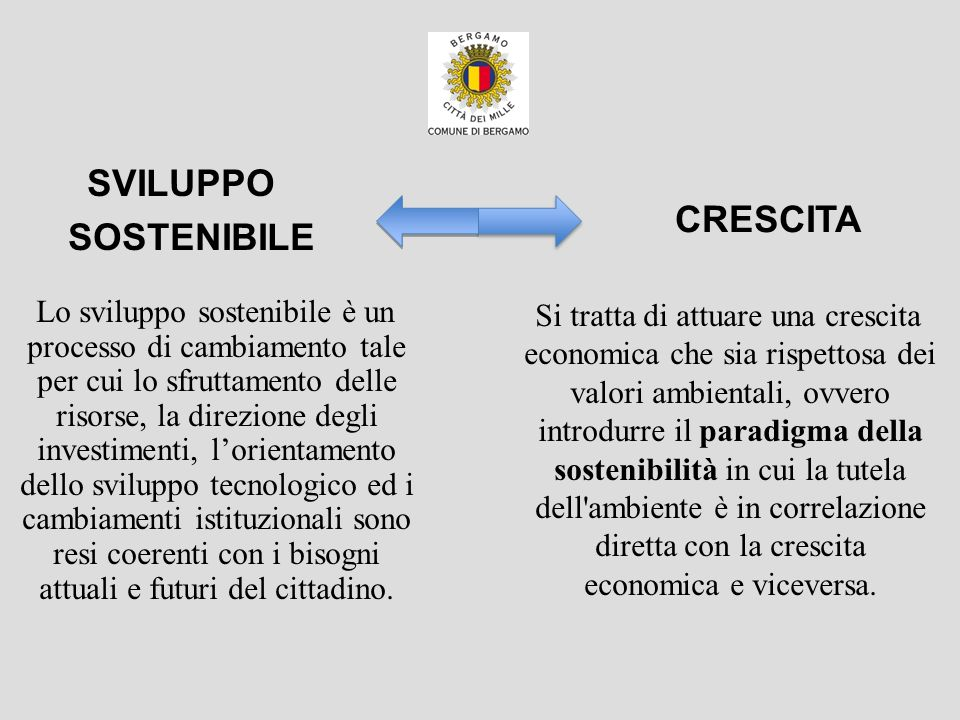Lo sviluppo sostenibile è un processo di cambiamento tale per cui lo sfruttamento delle risorse, la direzione degli investimenti, lorientamento dello