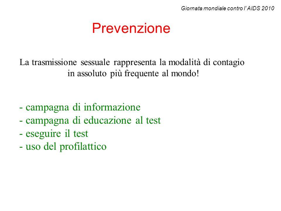 Prevenzione - campagna di informazione - campagna di educazione al test - eseguire il test - uso del profilattico La trasmissione sessuale rappresenta