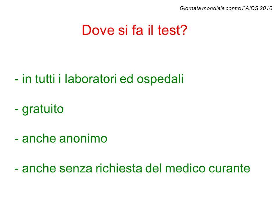 Dove si fa il test? - in tutti i laboratori ed ospedali - gratuito - anche anonimo - anche senza richiesta del medico curante Giornata mondiale contro