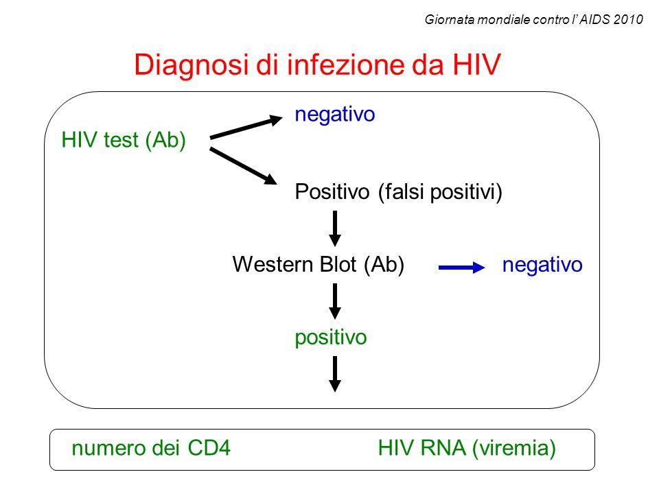 Diagnosi di infezione da HIV HIV test (Ab) Western Blot (Ab) HIV RNA (viremia) Positivo (falsi positivi) negativo positivo numero dei CD4 Giornata mon