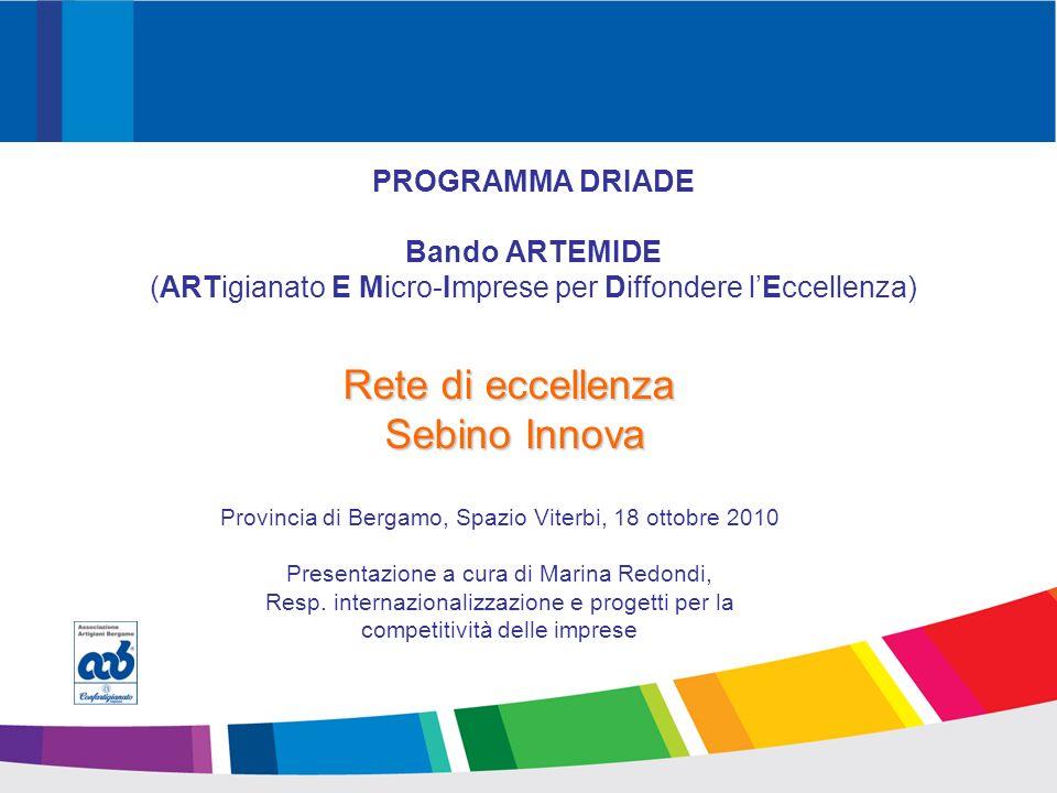 PROMOZIONE Guardiamo al mondo PROGRAMMA DRIADE Bando ARTEMIDE (ARTigianato E Micro-Imprese per Diffondere lEccellenza) Rete di eccellenza Sebino Innova Sebino Innova Provincia di Bergamo, Spazio Viterbi, 18 ottobre 2010 Presentazione a cura di Marina Redondi, Resp.