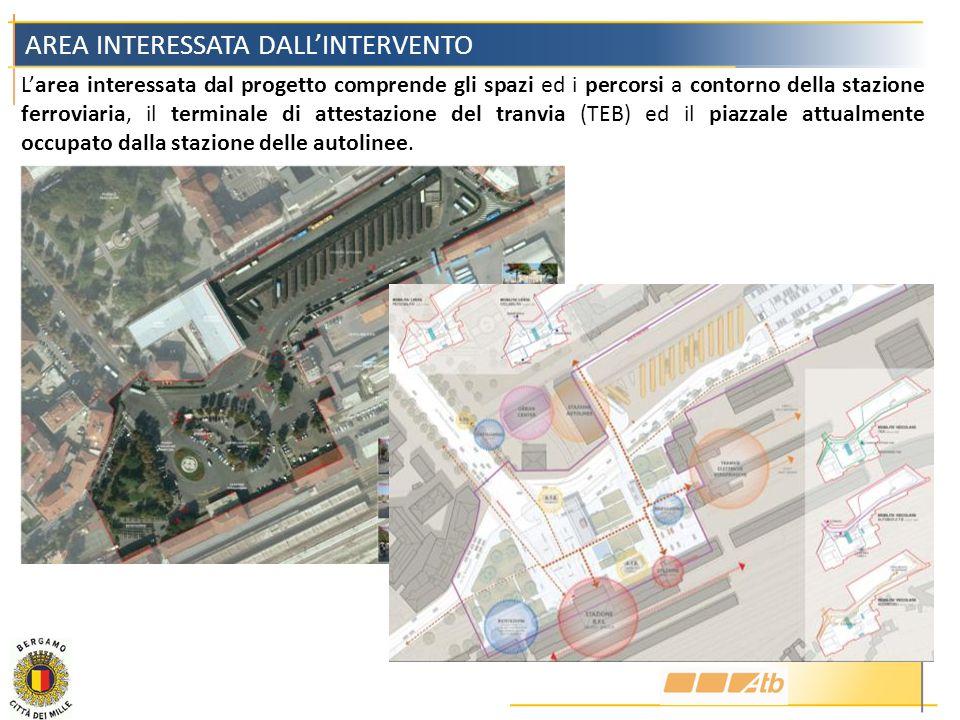 Larea interessata dal progetto comprende gli spazi ed i percorsi a contorno della stazione ferroviaria, il terminale di attestazione del tranvia (TEB)