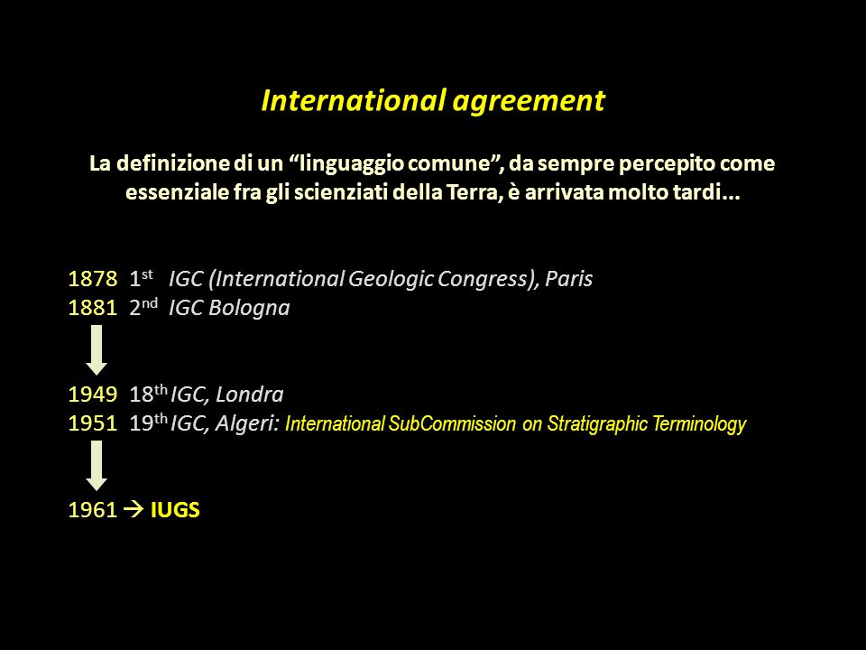 International agreement La definizione di un linguaggio comune, da sempre percepito come essenziale fra gli scienziati della Terra, è arrivata molto t