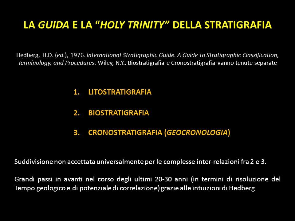 LA GUIDA E LA HOLY TRINITY DELLA STRATIGRAFIA Hedberg, H.D. (ed.), 1976. International Stratigraphic Guide. A Guide to Stratigraphic Classification, T