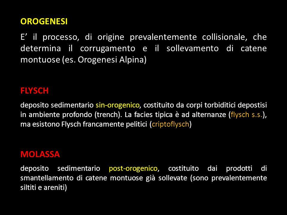 OROGENESI E il processo, di origine prevalentemente collisionale, che determina il corrugamento e il sollevamento di catene montuose (es. Orogenesi Al