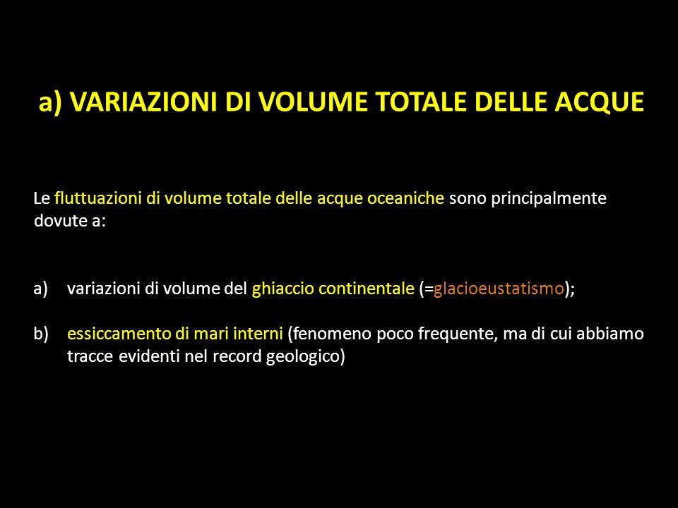 a) VARIAZIONI DI VOLUME TOTALE DELLE ACQUE Le fluttuazioni di volume totale delle acque oceaniche sono principalmente dovute a: a)variazioni di volume