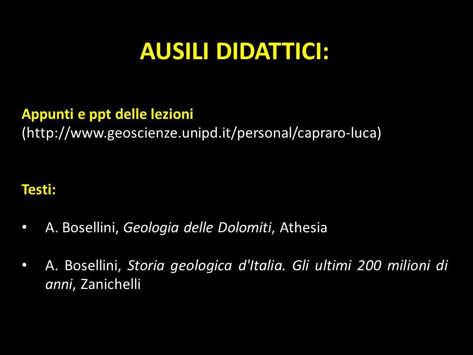 AUSILI DIDATTICI: Appunti e ppt delle lezioni (http://www.geoscienze.unipd.it/personal/capraro-luca) Testi: A. Bosellini, Geologia delle Dolomiti, Ath