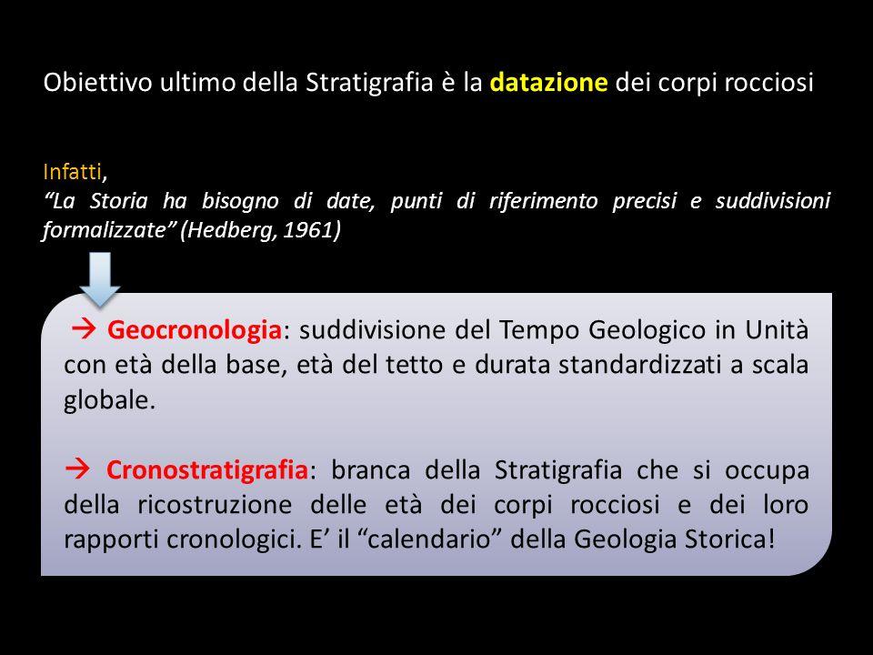 Obiettivo ultimo della Stratigrafia è la datazione dei corpi rocciosi Infatti, La Storia ha bisogno di date, punti di riferimento precisi e suddivisio