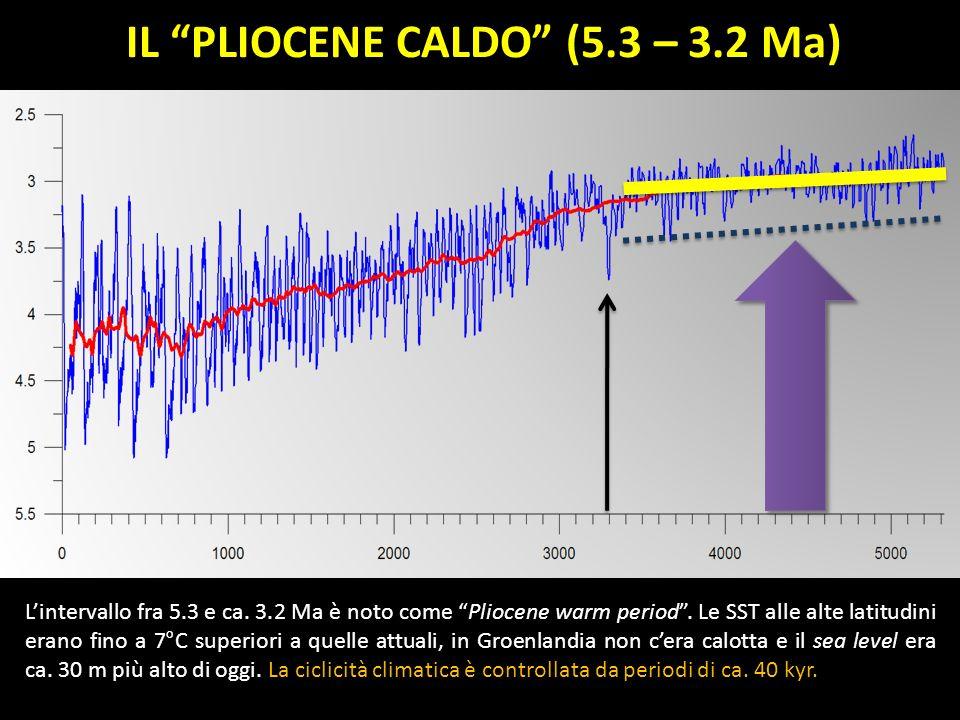 IL PLIOCENE CALDO (5.3 – 3.2 Ma) Lintervallo fra 5.3 e ca. 3.2 Ma è noto come Pliocene warm period. Le SST alle alte latitudini erano fino a 7°C super