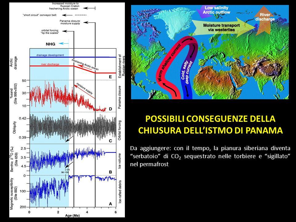 POSSIBILI CONSEGUENZE DELLA CHIUSURA DELLISTMO DI PANAMA Da aggiungere: con il tempo, la pianura siberiana diventa serbatoio di CO 2 sequestrato nelle