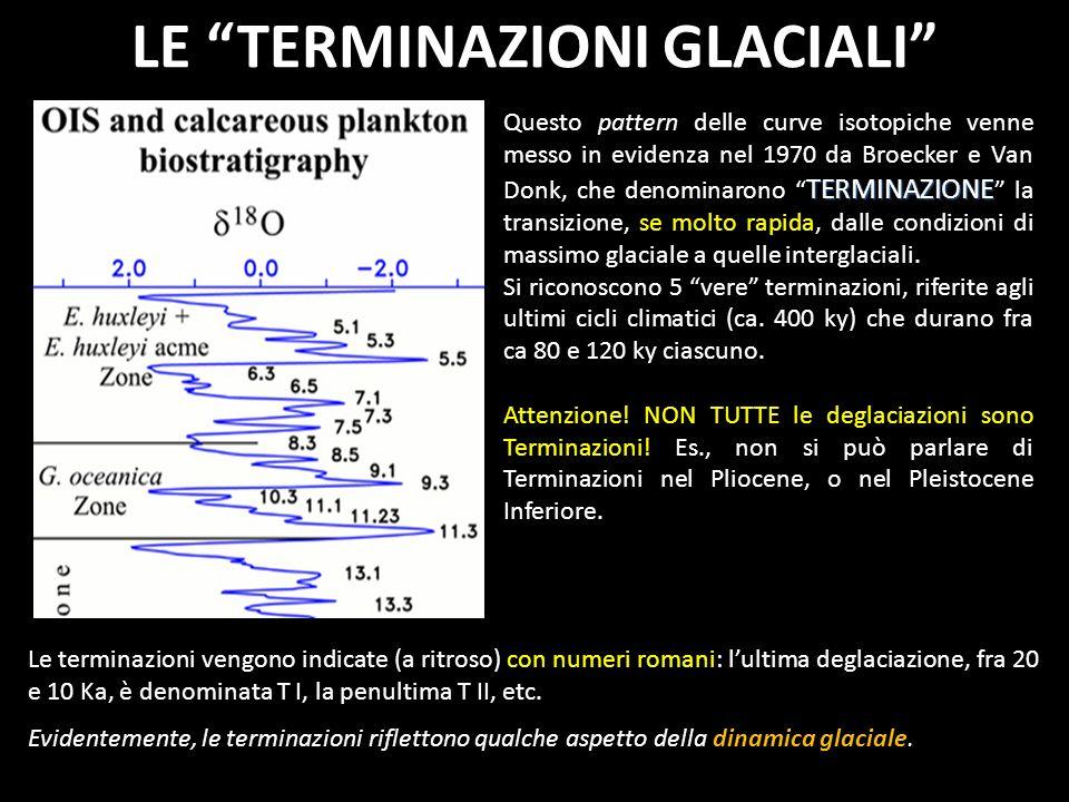 LE TERMINAZIONI GLACIALI TERMINAZIONE Questo pattern delle curve isotopiche venne messo in evidenza nel 1970 da Broecker e Van Donk, che denominarono