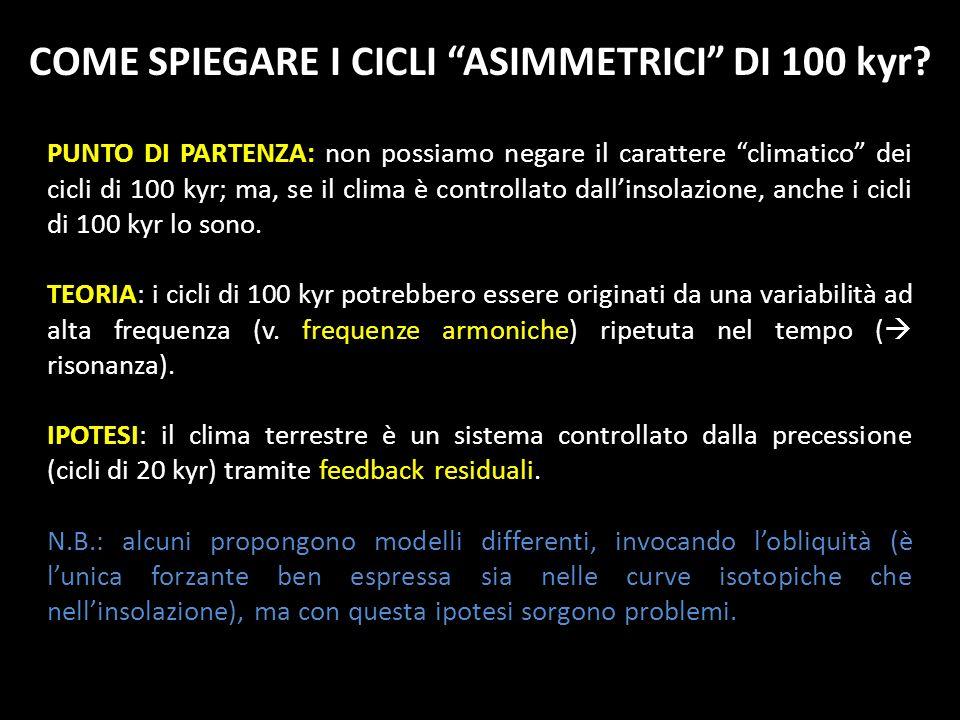 PUNTO DI PARTENZA: non possiamo negare il carattere climatico dei cicli di 100 kyr; ma, se il clima è controllato dallinsolazione, anche i cicli di 10