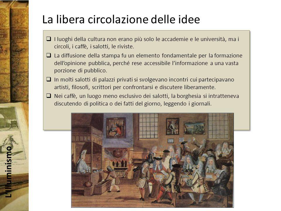 LIlluminismo La libera circolazione delle idee I luoghi della cultura non erano più solo le accademie e le università, ma i circoli, i caffè, i salotti, le riviste.