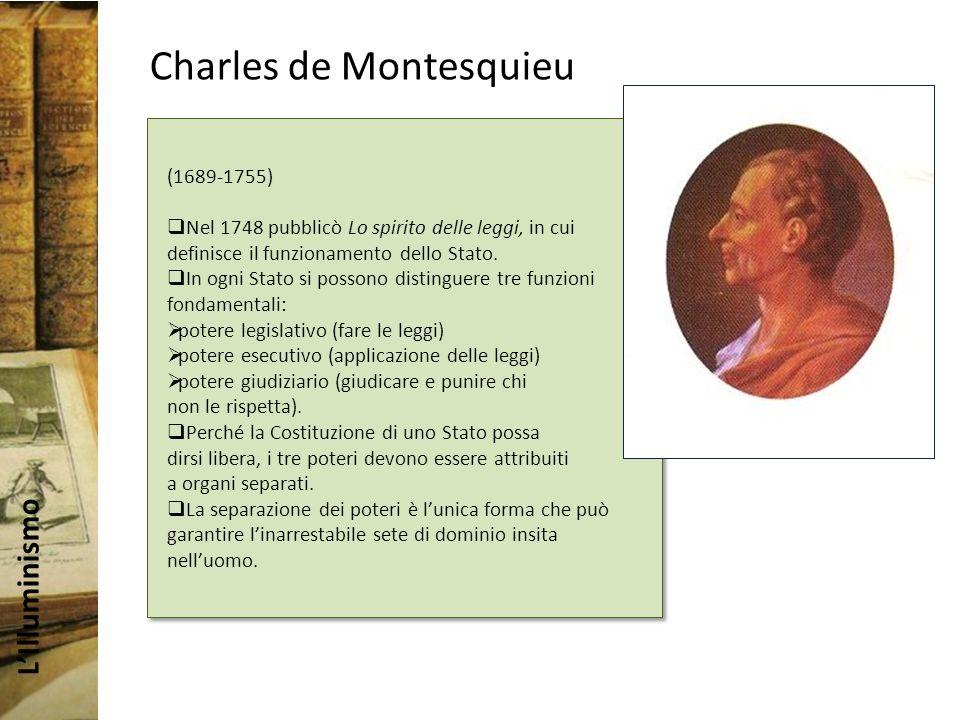 LIlluminismo Charles de Montesquieu (1689-1755) Nel 1748 pubblicò Lo spirito delle leggi, in cui definisce il funzionamento dello Stato.