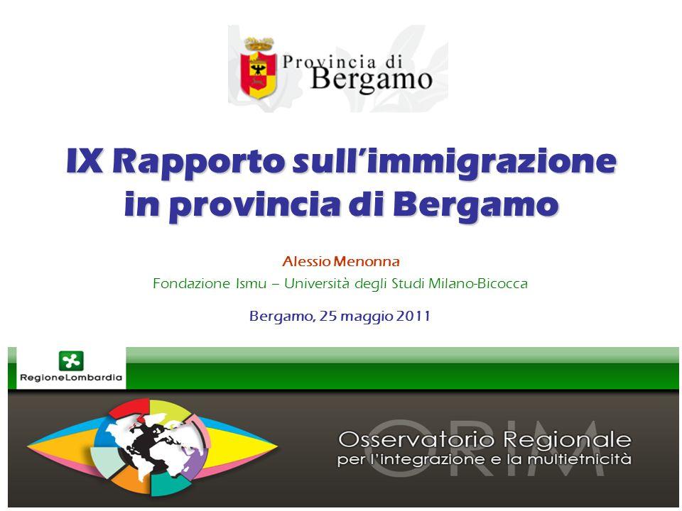 IX Rapporto sullimmigrazione in provincia di Bergamo Alessio Menonna Fondazione Ismu – Università degli Studi Milano-Bicocca Bergamo, 25 maggio 2011