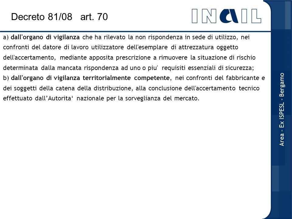 a) dall'organo di vigilanza che ha rilevato la non rispondenza in sede di utilizzo, nei confronti del datore di lavoro utilizzatore dell'esemplare di