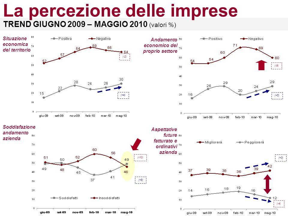 TREND GIUGNO 2009 – MAGGIO 2010 (valori %) La percezione delle imprese Andamento economico del proprio settore (+5) (-9) (+4) (-2) Situazione economica del territorio (+8) (-10) Soddisfazione andamento azienda Aspettative future fatturato e ordinativi azienda (-4) (+3)
