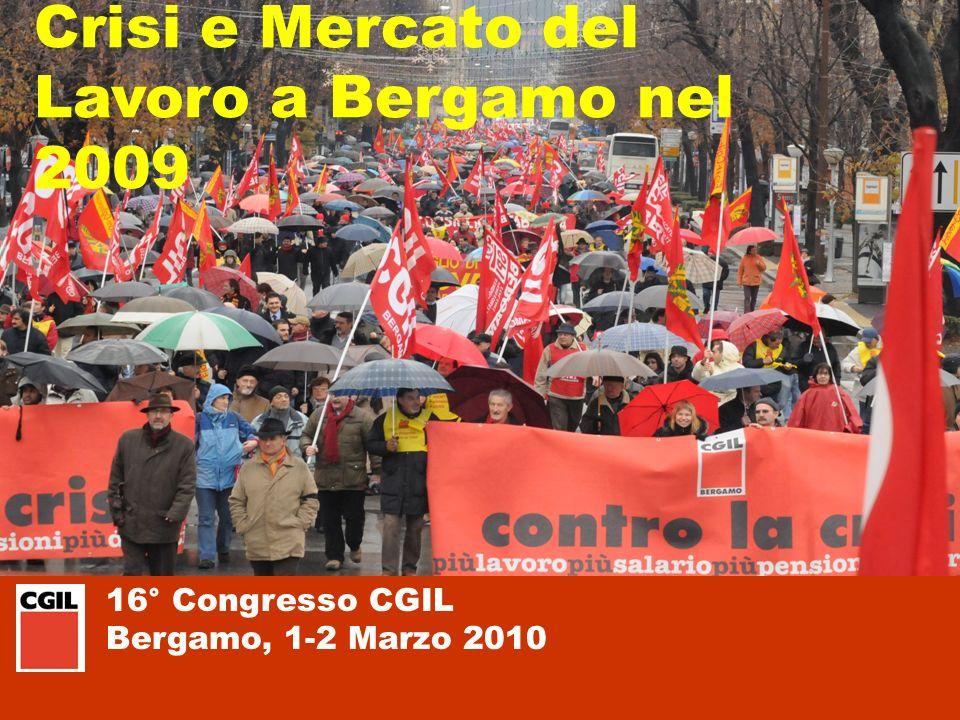 16° Congresso CGIL Bergamo, 1-2 Marzo 2010 ORE DI CASSA INTEGRAZIONE Rispetto al 2008 aumenti mensili anche del 1400% Fonte: Elaborazione su dati INPS, Osservatorio sulle Ore Autorizzate di Cassa Integrazione Guadagni
