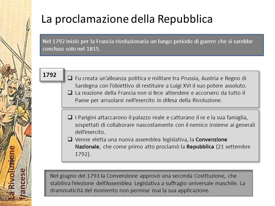 La Rivoluzione francese La proclamazione della Repubblica Fu creata unalleanza politica e militare tra Prussia, Austria e Regno di Sardegna con lobiet
