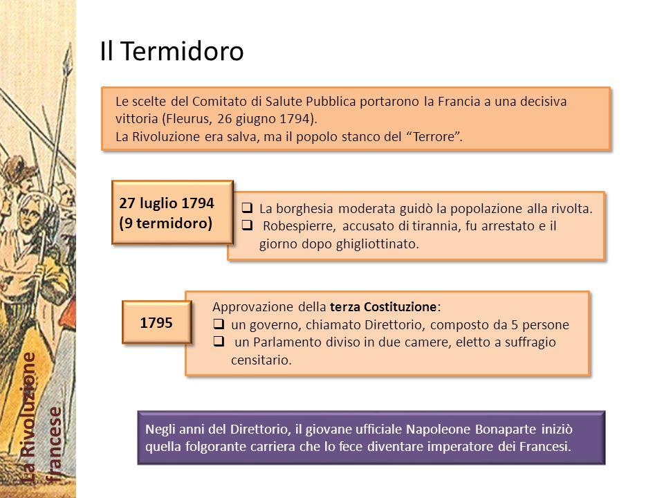 La Rivoluzione francese Il Termidoro Le scelte del Comitato di Salute Pubblica portarono la Francia a una decisiva vittoria (Fleurus, 26 giugno 1794).
