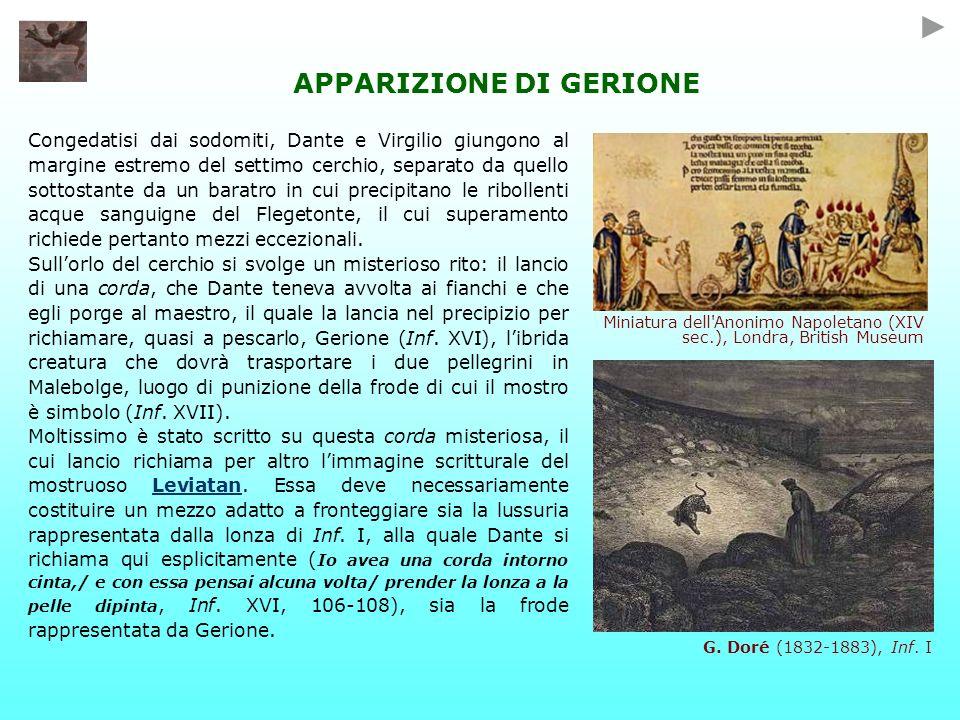 Congedatisi dai sodomiti, Dante e Virgilio giungono al margine estremo del settimo cerchio, separato da quello sottostante da un baratro in cui precipitano le ribollenti acque sanguigne del Flegetonte, il cui superamento richiede pertanto mezzi eccezionali.