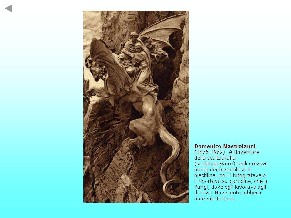 Domenico Mastroianni (1876-1962) è linventore della scultografia (sculptogravure); egli creava prima dei bassorilievi in plastilina, poi li fotografav