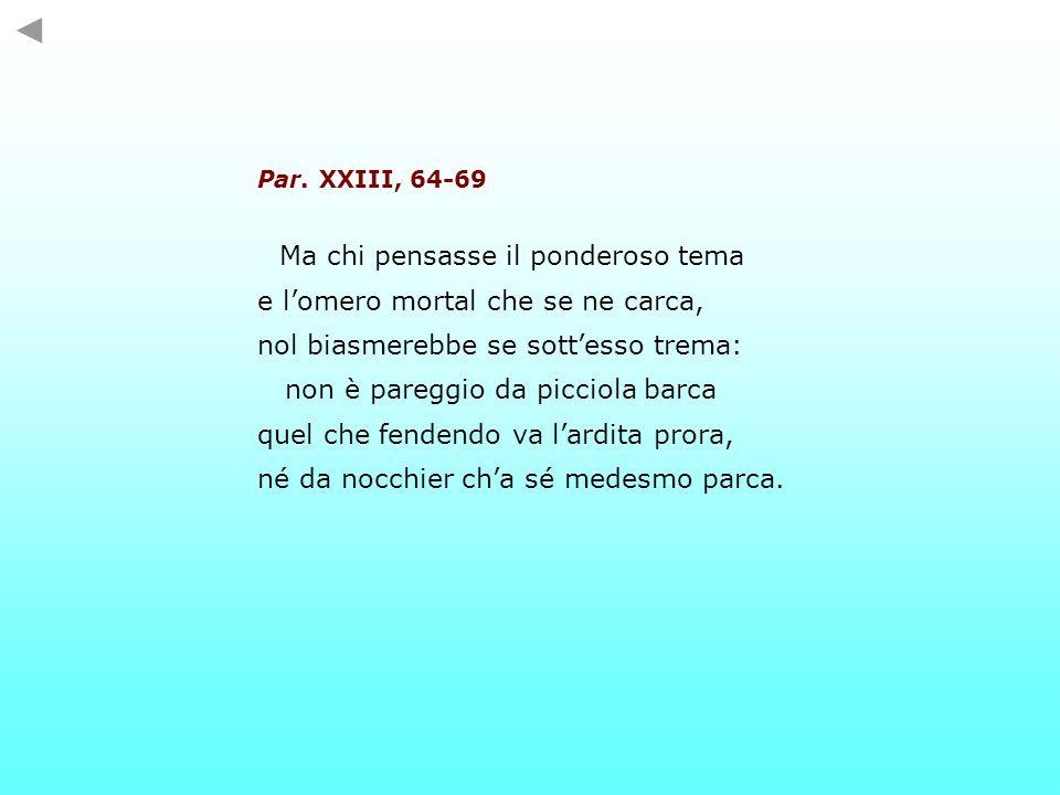 Par. XXIII, 64-69 Ma chi pensasse il ponderoso tema e lomero mortal che se ne carca, nol biasmerebbe se sottesso trema: non è pareggio da picciola bar