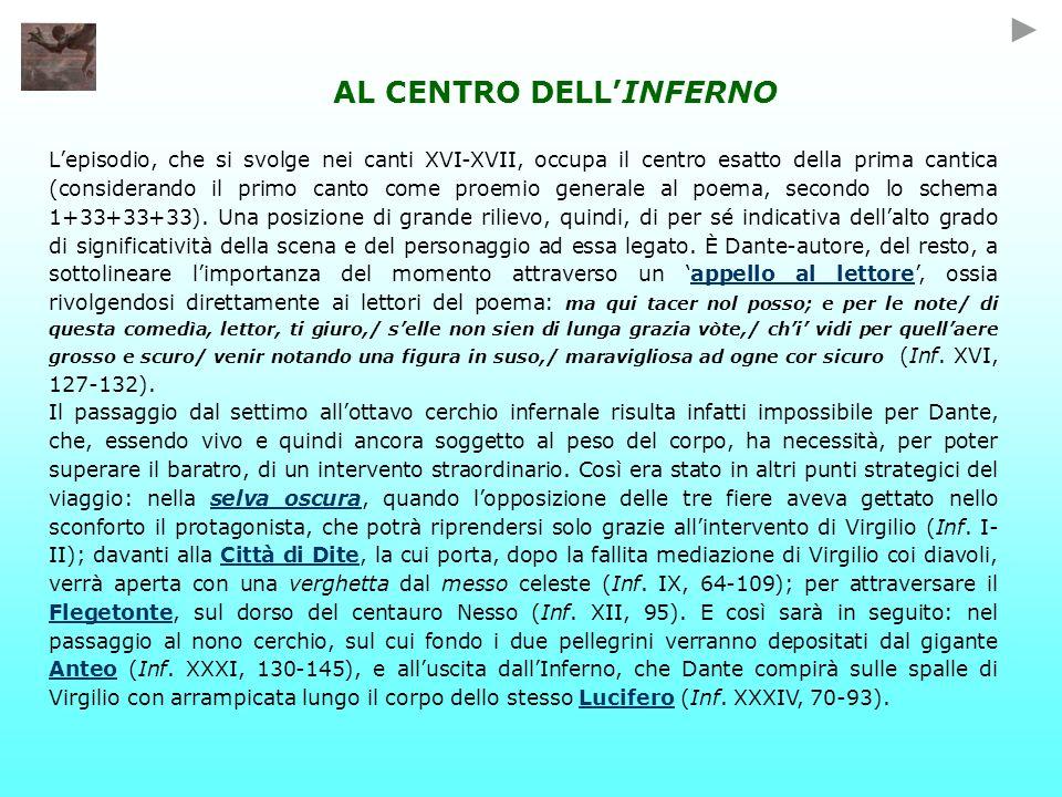 AL CENTRO DELLINFERNO Lepisodio, che si svolge nei canti XVI-XVII, occupa il centro esatto della prima cantica (considerando il primo canto come proemio generale al poema, secondo lo schema 1+33+33+33).