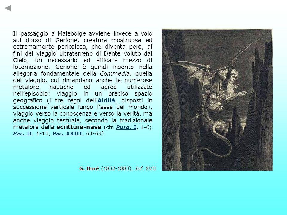 Il passaggio a Malebolge avviene invece a volo sul dorso di Gerione, creatura mostruosa ed estremamente pericolosa, che diventa però, ai fini del viaggio ultraterreno di Dante voluto dal Cielo, un necessario ed efficace mezzo di locomozione.