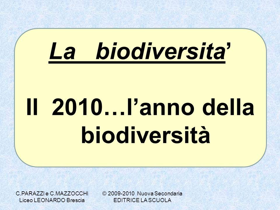 La biodiversita Il 2010…lanno della biodiversità © 2009-2010 Nuova Secondaria EDITRICE LA SCUOLA C.PARAZZI e C.MAZZOCCHI Liceo LEONARDO Brescia