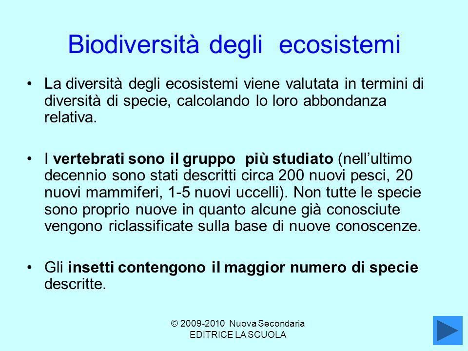 Biodiversità degli ecosistemi La diversità degli ecosistemi viene valutata in termini di diversità di specie, calcolando lo loro abbondanza relativa.