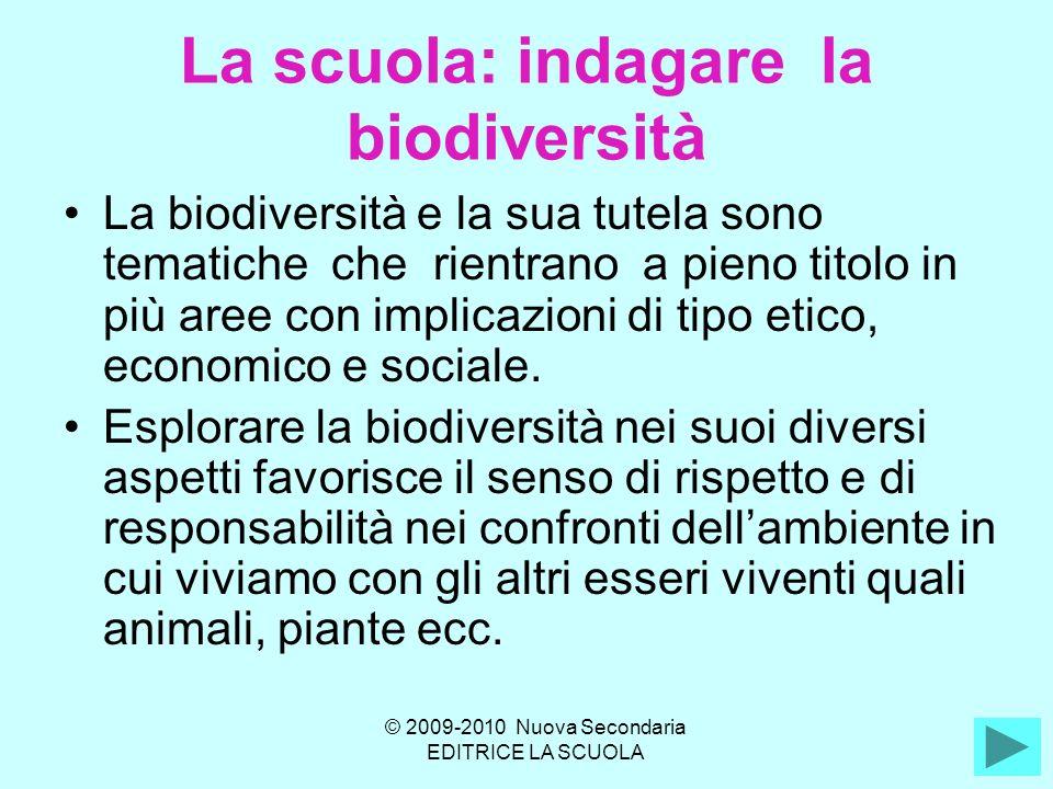 La scuola: indagare la biodiversità La biodiversità e la sua tutela sono tematiche che rientrano a pieno titolo in più aree con implicazioni di tipo etico, economico e sociale.