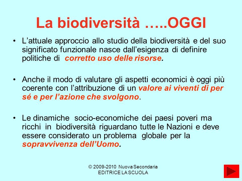La biodiversità …..OGGI Lattuale approccio allo studio della biodiversità e del suo significato funzionale nasce dallesigenza di definire politiche di corretto uso delle risorse.