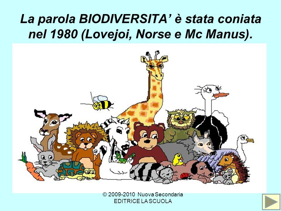 La parola BIODIVERSITA è stata coniata nel 1980 (Lovejoi, Norse e Mc Manus).