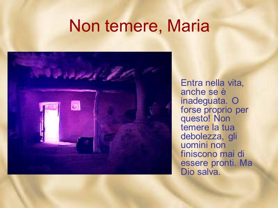 Non temere, Maria E se pure hai detto «sì » una volta, non sei mai al riparo dallo smarrimento. Ma: «Non temere, Maria». Dio entra nella vita, che è f