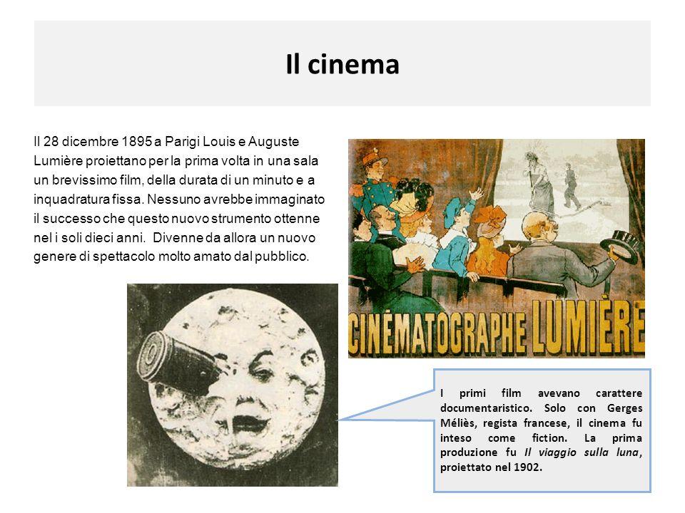 Il cinema Il 28 dicembre 1895 a Parigi Louis e Auguste Lumière proiettano per la prima volta in una sala un brevissimo film, della durata di un minuto