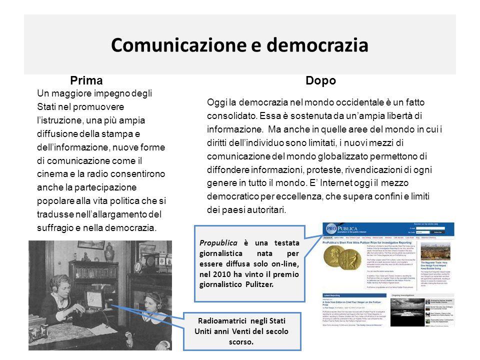 Comunicazione e democrazia PrimaDopo Un maggiore impegno degli Stati nel promuovere listruzione, una più ampia diffusione della stampa e dellinformazi