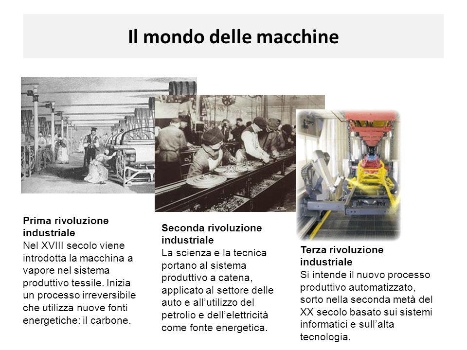 Il mondo delle macchine Prima rivoluzione industriale Nel XVIII secolo viene introdotta la macchina a vapore nel sistema produttivo tessile. Inizia un