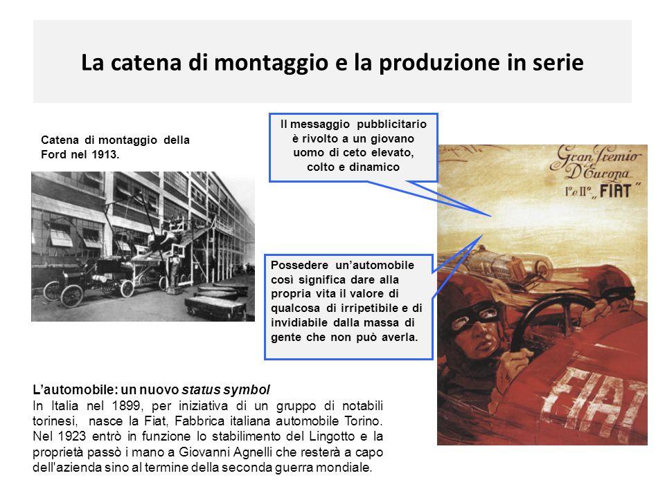 La catena di montaggio e la produzione in serie Catena di montaggio della Ford nel 1913. Lautomobile: un nuovo status symbol In Italia nel 1899, per i